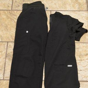 FIGS scrub set XS black